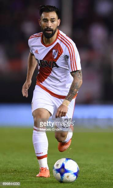 Ariel Rojas of River Plate drives the ball during a match between River Plate and Aldosivi as part of Torneo Primera Division 2016/17 at Monumental...