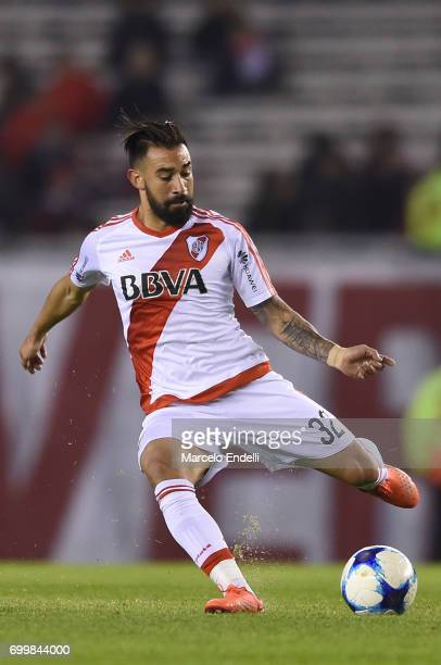 Ariel Rojas of River Plate kicks the ball during a match between River Plate and Aldosivi as part of Torneo Primera Division 2016/17 at Monumental...