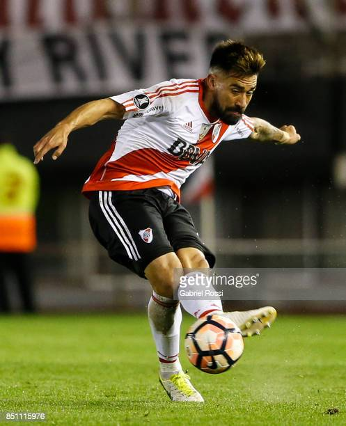 Ariel Rojas of River Plate kicks the ball during a second leg match between River Plate and Wilstermann as part of the quarter finals of Copa...