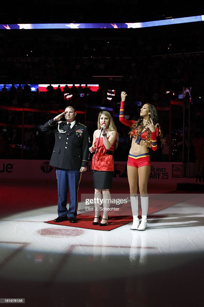 Ariel Rose sings the national anthem prior to the start of the game between the Florida Panthers and the Tampa Bay Lightning at the BB&T Center on February 16, 2013 in Sunrise, Florida.