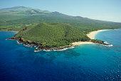 A Ariel view of an extinct volcano on an island