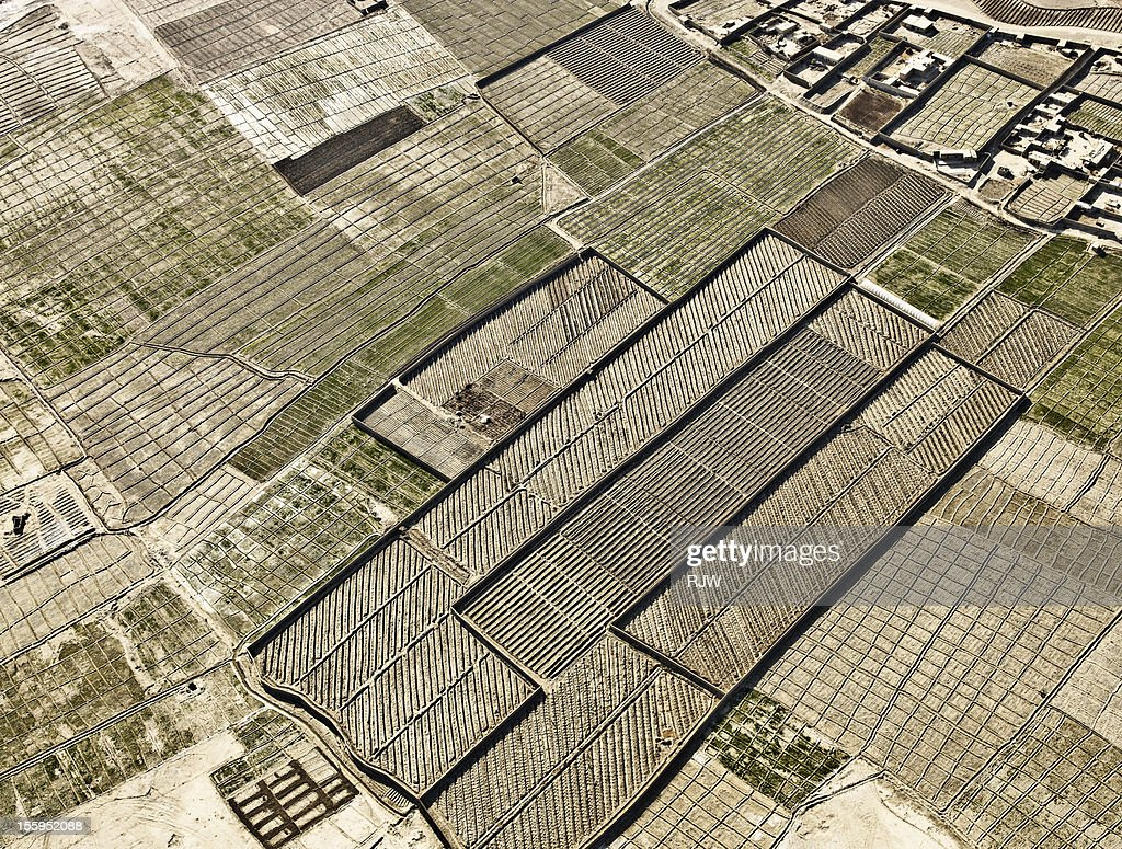 Ariel View of Farming Afghanistan : Stock Photo