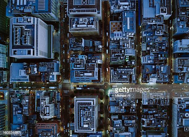 Ariel view of Ginza, Tokyo at night.