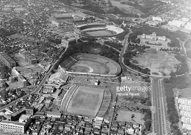 Ariel view of Meiji Shrine And Olympics Site for 1964 in Tokyo Japan 6/59