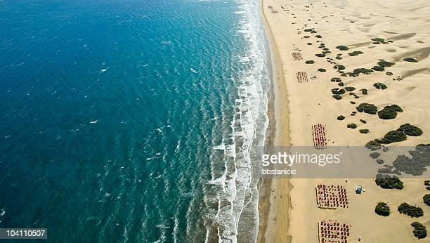 Ariel view of ocean against the beach with rows of chairs