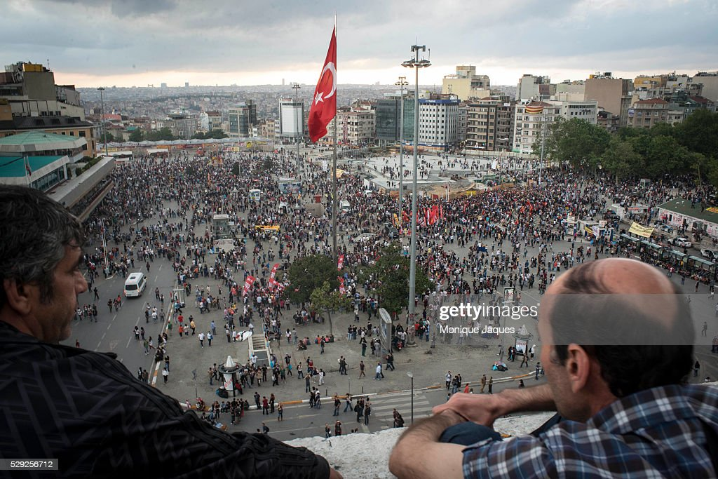 Ariel view of Taksim Square from the Ataturk Cultural Center Protests in Istanbul Turkey continue into the night Protests began as a fight to save...