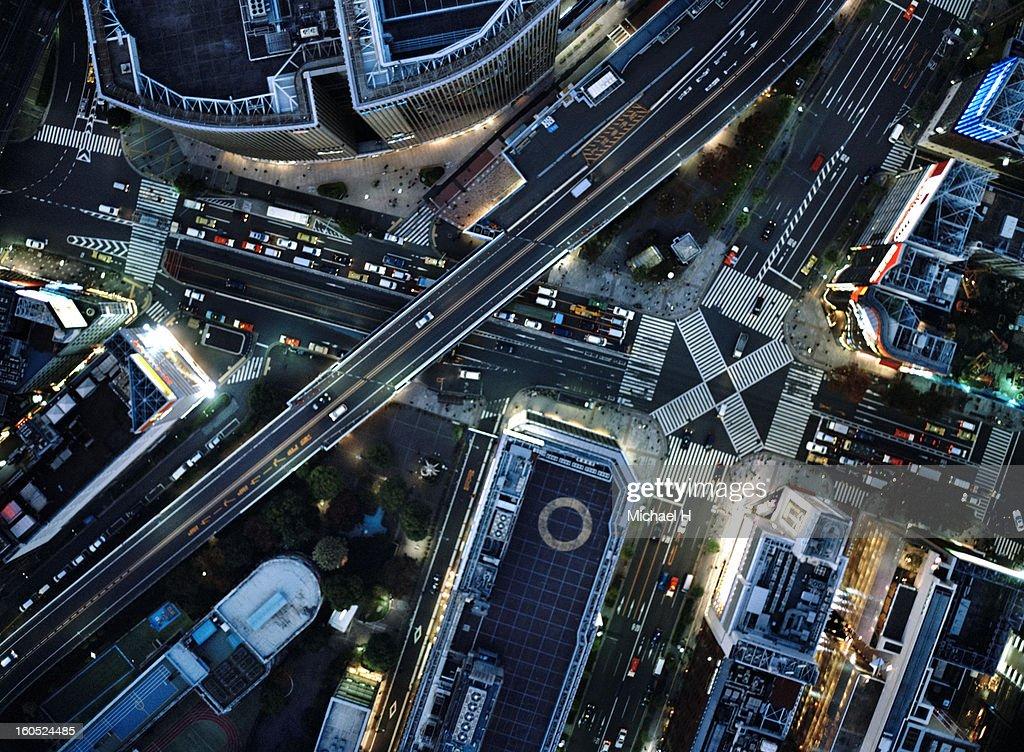 Ariel view Tokyo at night.