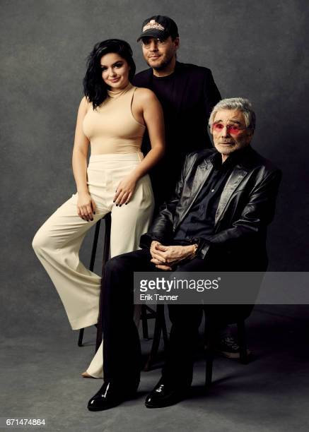 Ariel Winter Adam Rifkin and Burt Reynolds from 'Dog Years' pose at the 2017 Tribeca Film Festival portrait studio on April 21 2017 in New York City