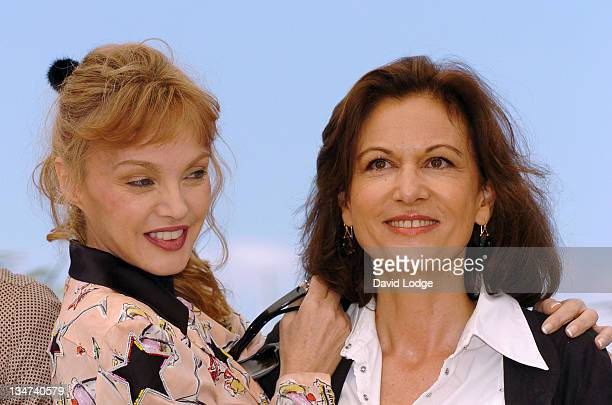 Arielle Dombasle and Anne Fontaine writer during 2006 Cannes Film Festival 'Nouvelle Chance ' Photocall at Palais des Festival in Cannes France