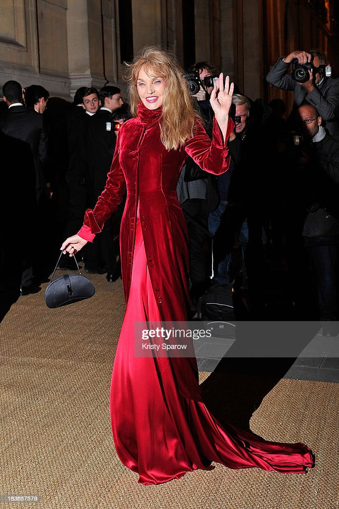 Arielle Dombasle arrives to the Ralph Lauren Collection Show and private dinner at Les BeauxArts de Paris on October 8 2013 in Paris France On this...