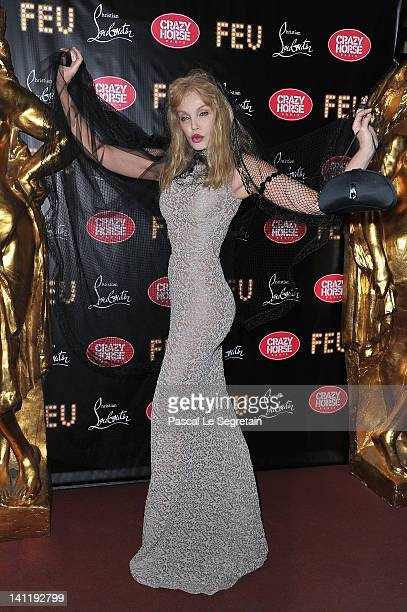 Arielle Dombasle attends 'Feu' Directed By Christian Louboutin VIP Premiere at Le Crazy Horse on March 12 2012 in Paris France