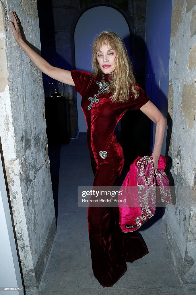 Arielle Dombasle attends the launch of Elie Top first 'Mechanique Celestre' collection at Gallerie Mitterrand on January 27 2015 in Paris France
