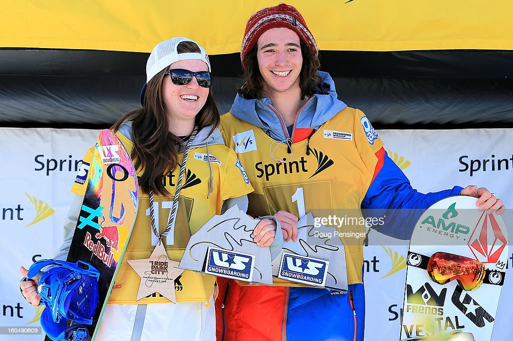 Arielle Gold and Luke Mitrani take the podium after they both clinched the Sprint U.S. Grand Prix season title, along with the U.S. Championship crown after Gold finished second and Mitrani finished third in the FIS Snowboard Halfpipe World Cup at the Sprint U.S. Grand Prix at Park City Mountain on February 1, 2013 in Park City, Utah.