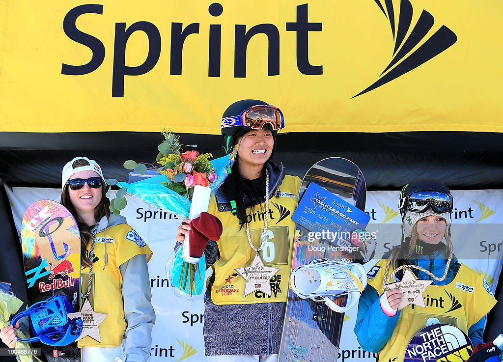 Arielle Gold of the USA in second place, Jiayu Liu of China in first place and Kaitlyn Farrington of the USA in third place takes the podium in the ladies FIS Snowboard Halfpipe World Cup at the Sprint U.S. Grand Prix at Park City Mountain on February 1, 2013 in Park City, Utah.