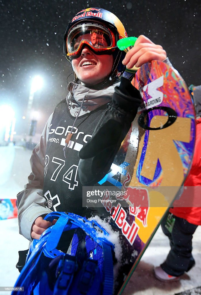 Arielle Gold prepares to take a practice run prior to the Women's Snowboard Superpipe Final during Winter X Games Aspen 2013 at Buttermilk Mountain on January 26, 2013 in Aspen, Colorado.