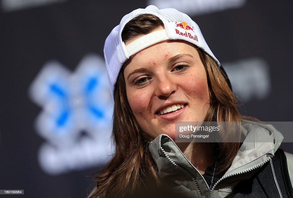 Arielle Gold talks to the media during a press conference after taking third place in the Women's Snowboard Superpipe Final during Winter X Games Aspen 2013 at Buttermilk Mountain on January 26, 2013 in Aspen, Colorado.