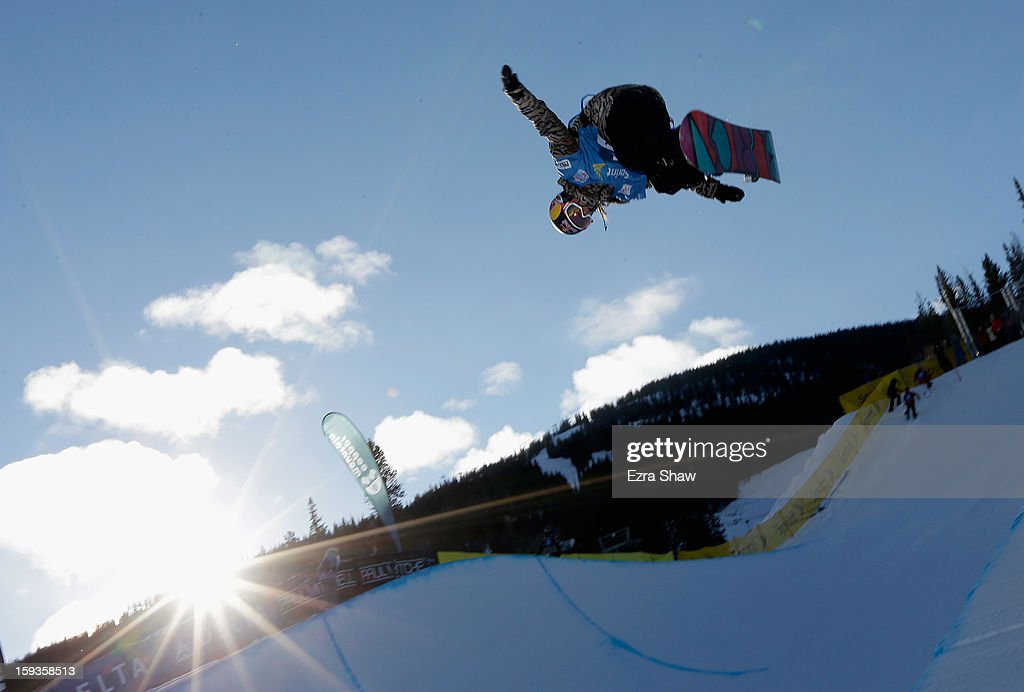 Arielle Gold warms up before the start of the FIS Snowboard World Cup Half Pipe ladies' finals at the US Grand Prix on January 12, 2013 in Copper Mountain, Colorado.