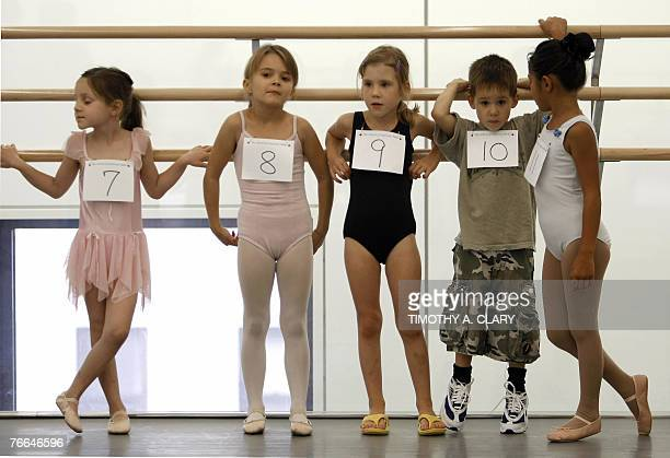 Arielle McKeever Mariah Hesser Maria Anna Foldessy Marcus Foldessy and Lily Ann Talarico from New York City line up during the 6yearold auditions at...