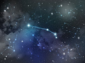 Zodiac star,Aries constellation, on night sky with cloud and stars