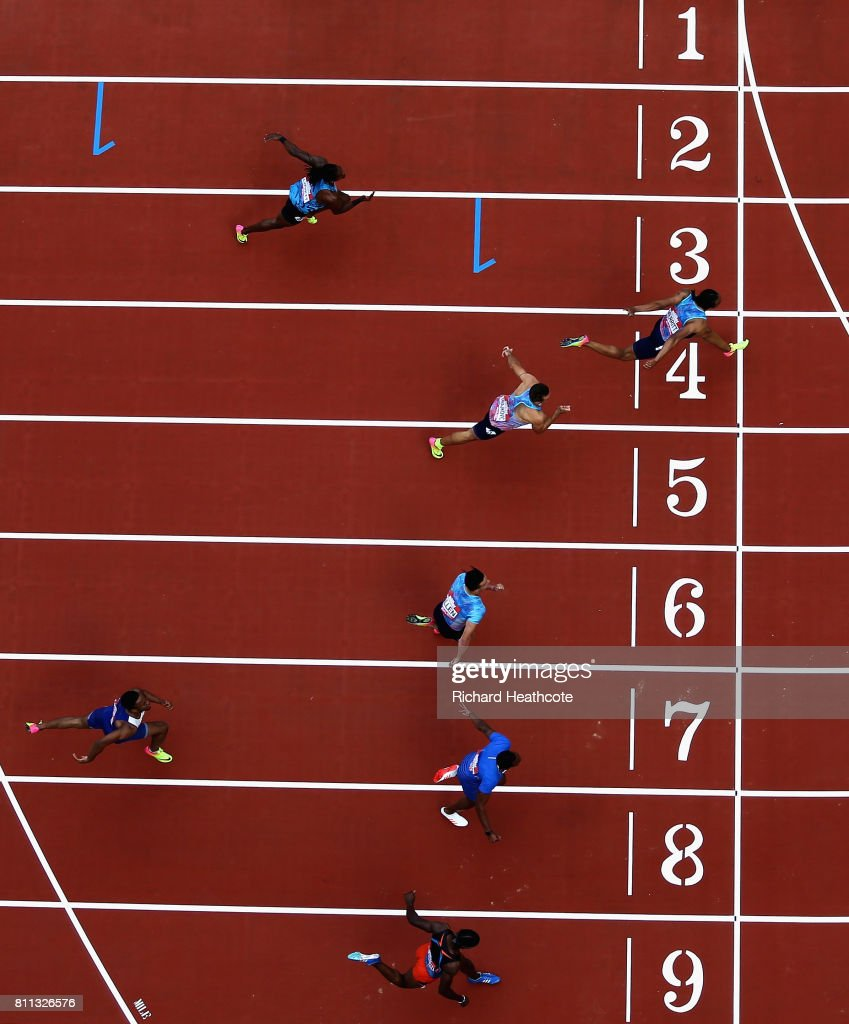 Aries Merritt of The United States (Lane 4) wins the mens 100m final during the Muller Anniversary Games at London Stadium on July 9, 2017 in London, England.