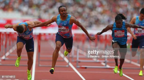 Aries Merritt of the United States wins the Men's 110m hurdles final during the Muller Anniversary Games at London Stadium on July 9 2017 in London...