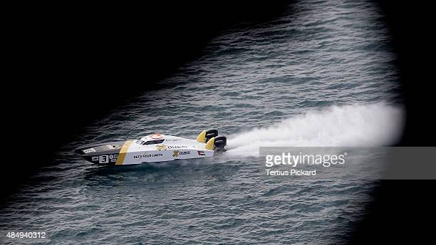 Arif Al Zaffain and Nadir Bin Heindi of XDubai compete on day 2 of the Gold Coast Grand Prix the fourth round of the UIM XCAT World Series on August...