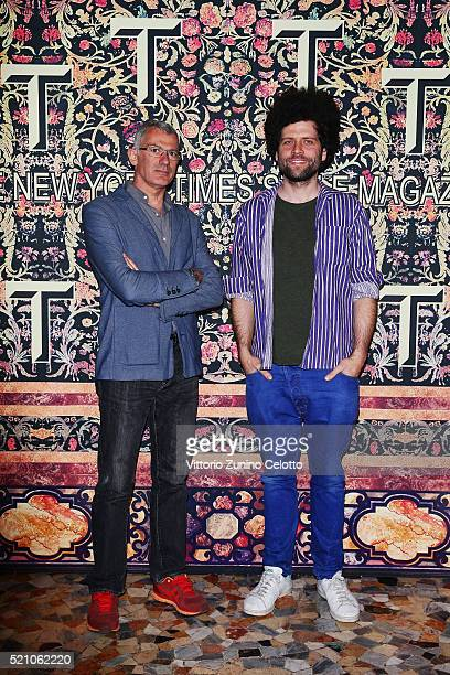 Arik Levy and guest attend the T Celebration of Culture Issue And Milan Design Week at Palazzo Crespi on April 11 2016 in Milan Italy