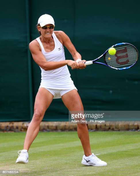 Arina Rodionova in action against Anastasia Pavlyuchenkova on day two of the Wimbledon Championships at The All England Lawn Tennis and Croquet Club...