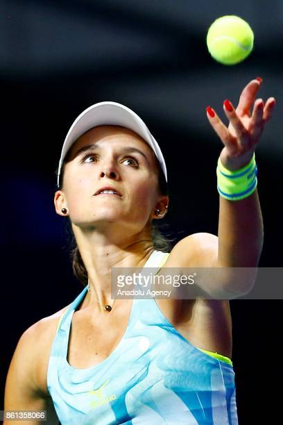 Arina Rodionova of Australia in action against Anastasia Potapova of Russia during the women's singles tennis qualifying match within the...