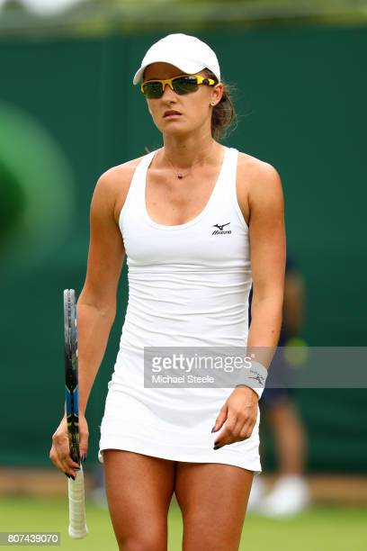 Arina Rodionova of Australia looks on during the Ladies Singles first round match against Anastasia Pavlyuchenkova of Russia on day two of the...