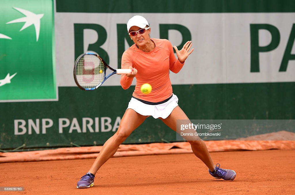 <a gi-track='captionPersonalityLinkClicked' href=/galleries/search?phrase=Arina+Rodionova&family=editorial&specificpeople=5513372 ng-click='$event.stopPropagation()'>Arina Rodionova</a> of Australia plays a forehand during the Women's Singles first round match against Ana Konjuh of Croatia on day three of the 2016 French Open at Roland Garros on May 24, 2016 in Paris, France.