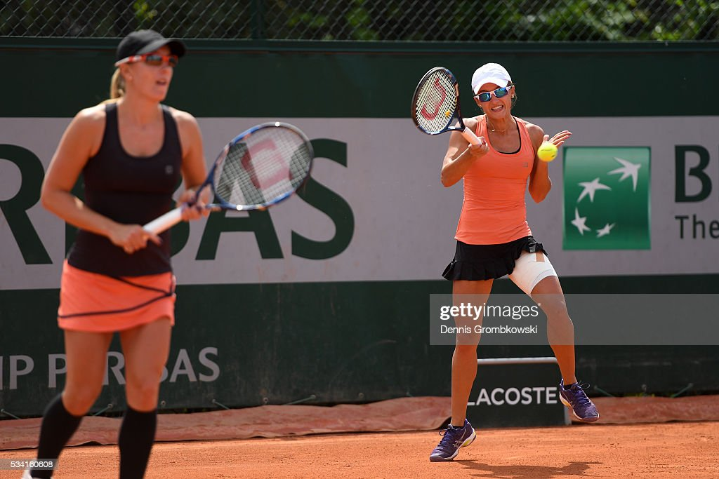 <a gi-track='captionPersonalityLinkClicked' href=/galleries/search?phrase=Arina+Rodionova&family=editorial&specificpeople=5513372 ng-click='$event.stopPropagation()'>Arina Rodionova</a> of Australia plays a forehand during the Womens Double first round match against Timea Babos of Hungary and Yaroslave Shvedova of Kazakhstan at Roland Garros on May 25, 2016 in Paris, France.