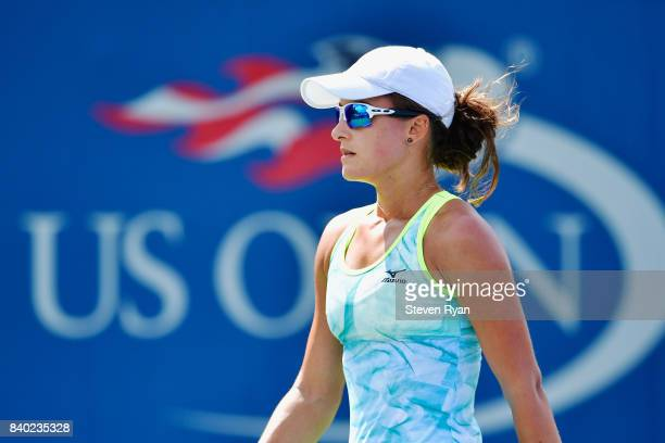 Arina Rodionova of Australia reacts during her match against Richel Hogenkamp of the Netherlands on Day One of the 2017 US Open at the USTA Billie...