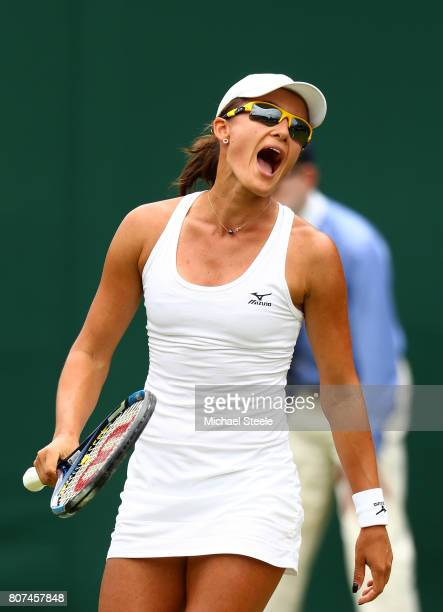 Arina Rodionova of Australia reacts during the Ladies Singles first round match against Anastasia Pavlyuchenkova of Russia on day two of the...