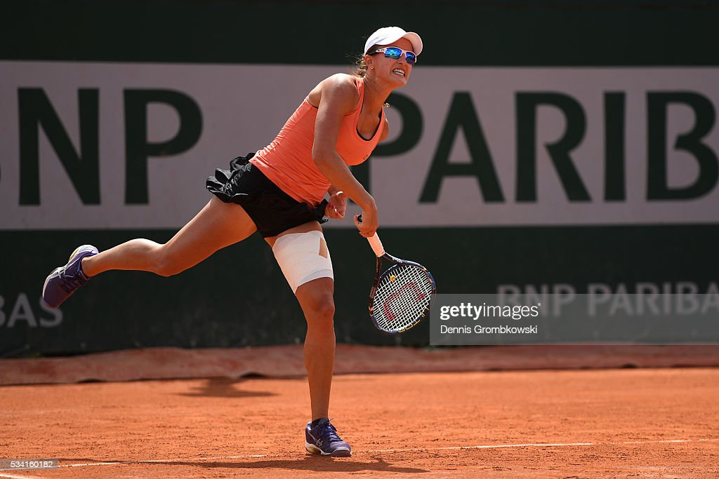 <a gi-track='captionPersonalityLinkClicked' href=/galleries/search?phrase=Arina+Rodionova&family=editorial&specificpeople=5513372 ng-click='$event.stopPropagation()'>Arina Rodionova</a> of Australia serves during the Womens Double first round match against Timea Babos of Hungary and Yaroslave Shvedova of Kazakhstan at Roland Garros on May 25, 2016 in Paris, France.