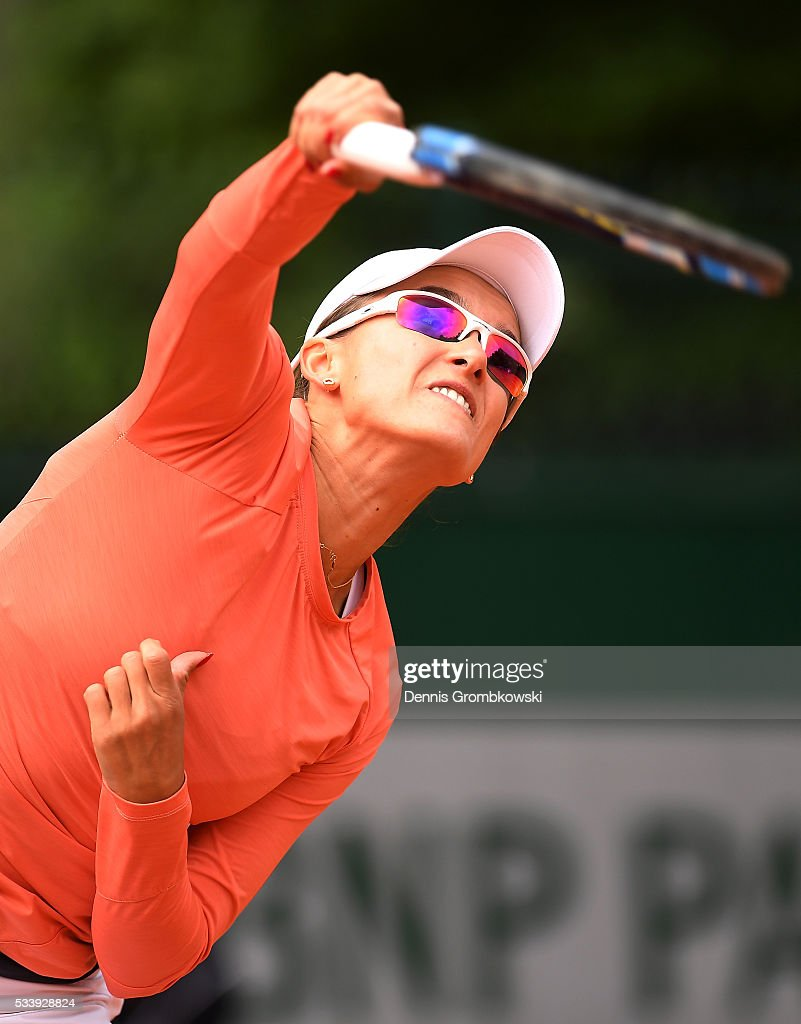 <a gi-track='captionPersonalityLinkClicked' href=/galleries/search?phrase=Arina+Rodionova&family=editorial&specificpeople=5513372 ng-click='$event.stopPropagation()'>Arina Rodionova</a> of Australia serves during the Women's Singles first round match against Ana Konjuh of Croatia on day three of the 2016 French Open at Roland Garros on May 24, 2016 in Paris, France.