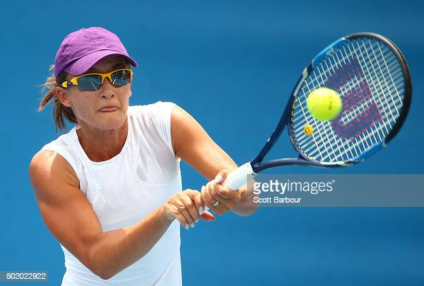 Arina Rodionova of Victoria plays a backhand during the Women's Australian Open 2016 Singles Playoff final between Arina Rodionova of Victoria and...