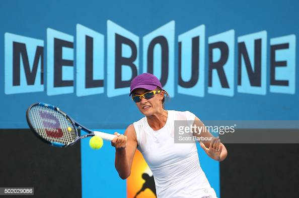 Arina Rodionova of Victoria plays a forehand during the Women's Australian Open 2016 Singles Playoff final between Arina Rodionova of Victoria and...