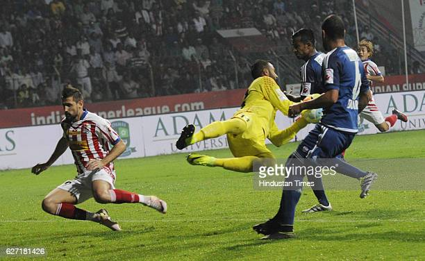 Arindam Bhattacharya goalkeeper of Pune City Fc is turn down an attack of ATK during ISL match at Rabindra Sarobar stadium on December 2 2016 in...