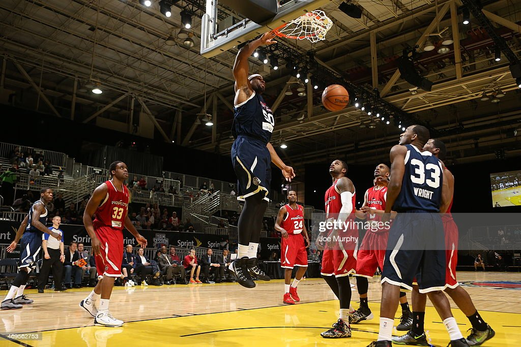 Arinze Onauku of the Futures dunks against the Prospects during the NBA DLeague AllStar Game at Sprint Arena as part of 2014 NBA AllStar Weekend at...