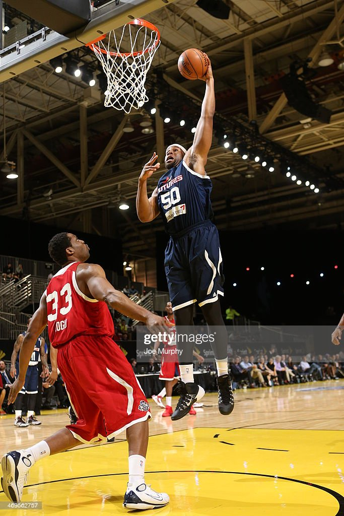 Arinze Onauku of the Futures shoots against Robert Covington of the Prospects during the NBA DLeague AllStar Game at Sprint Arena as part of 2014 NBA...