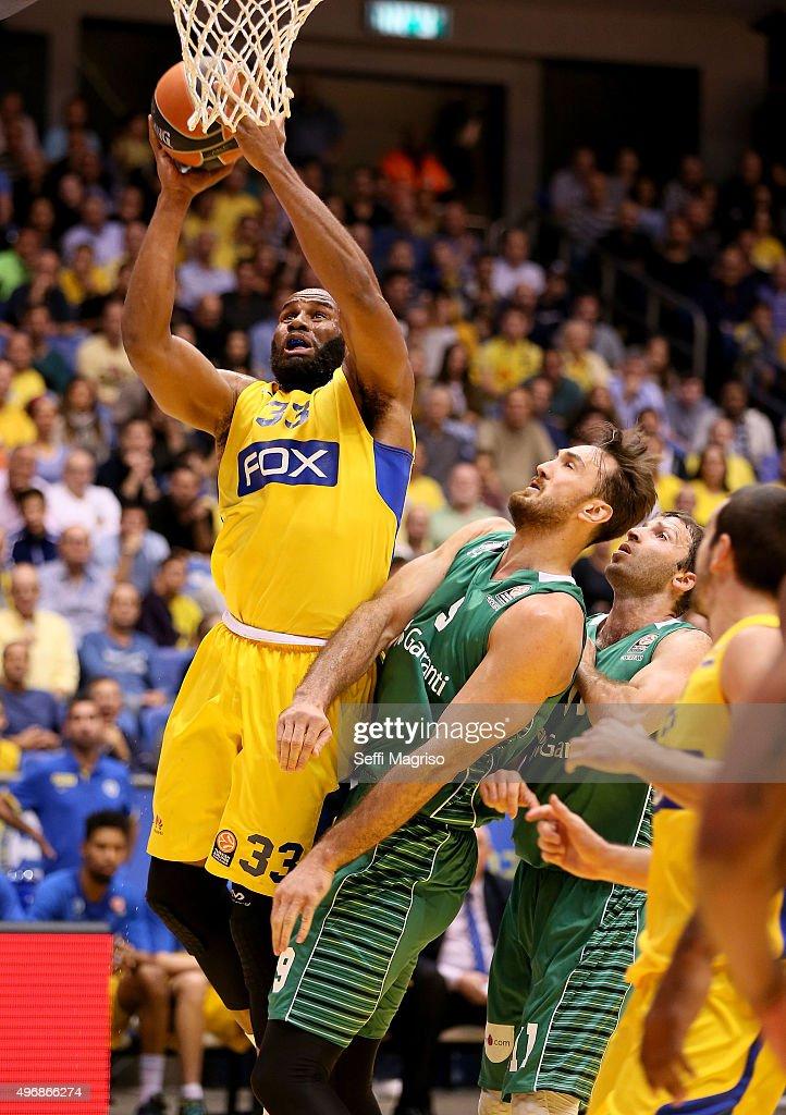 Arinze Onuaku #33 of Maccabi Fox Tel Aviv during the Turkish Airlines Euroleague Regular Season date 5 game between Maccabi Tel Aviv v Darussafaka...