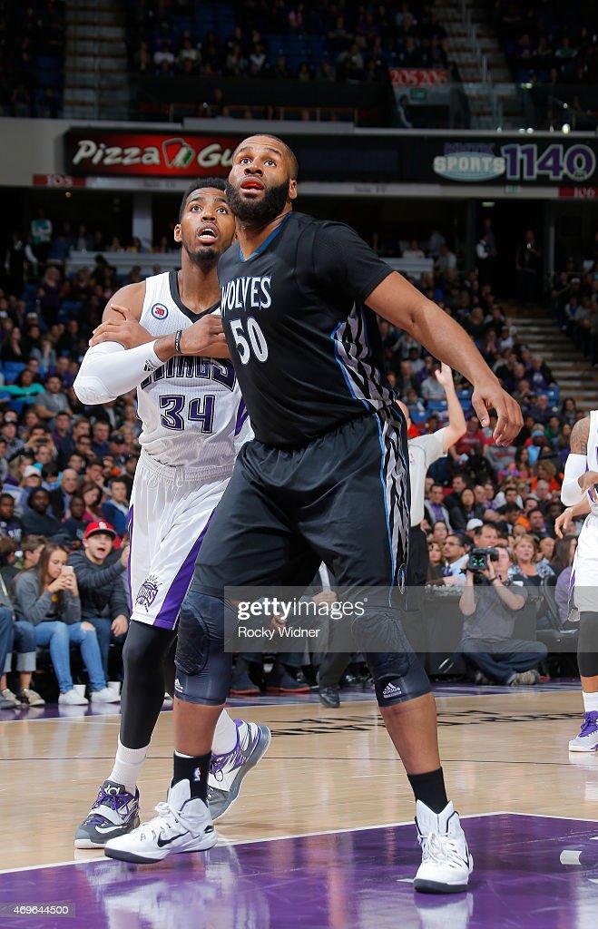 Arinze Onuaku $50 of the Minnesota Timberwolves boxes out Jason Thompson of the Sacramento Kings on April 7 2015 at Sleep Train Arena in Sacramento...