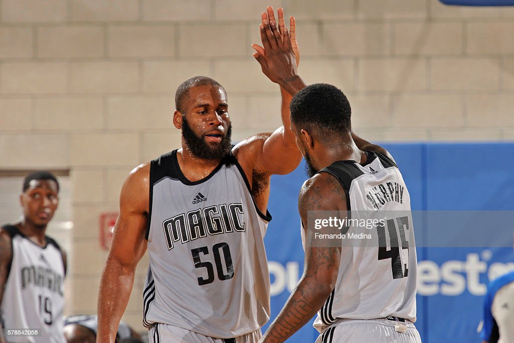 Arinze Onuaku and Kevin Murphy of Magic White celebrates against the Dallas Mavericks during the 2016 Orlando Summer League on July 4 2016 at Amway...