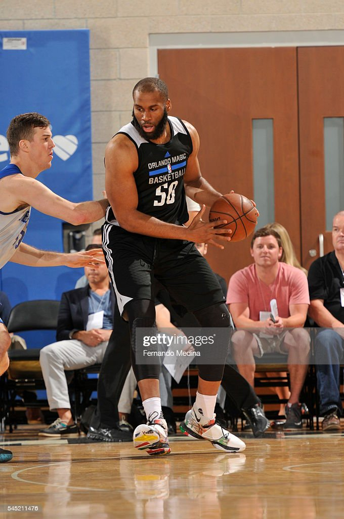Arinze Onuaku of Magic White handles the ball against the New York Knicks on July 6 2016 during Summer League at the Amway Center in Orlando Florida...