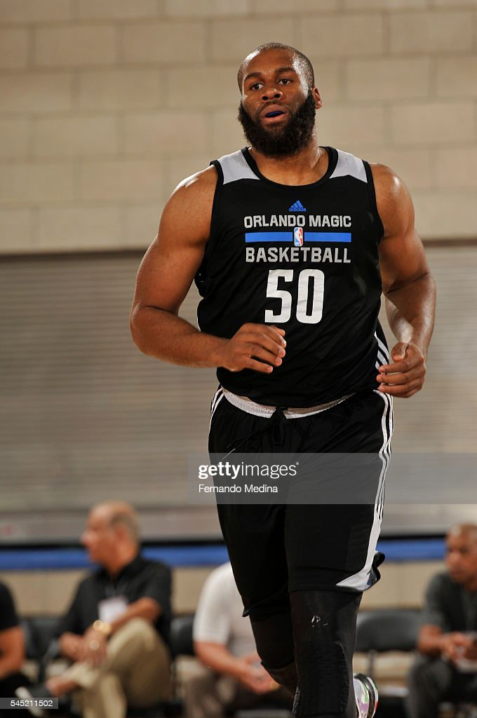Arinze Onuaku of Magic White is seen against the New York Knicks on July 6 2016 during Summer League at the Amway Center in Orlando Florida NOTE TO...