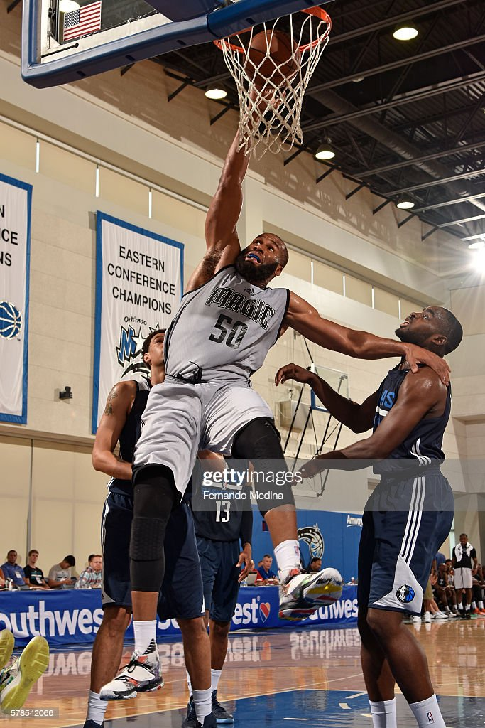 Arinze Onuaku of Magic White shoots the ball against the Dallas Mavericks during the 2016 Orlando Summer League on July 4 2016 at Amway Center in...