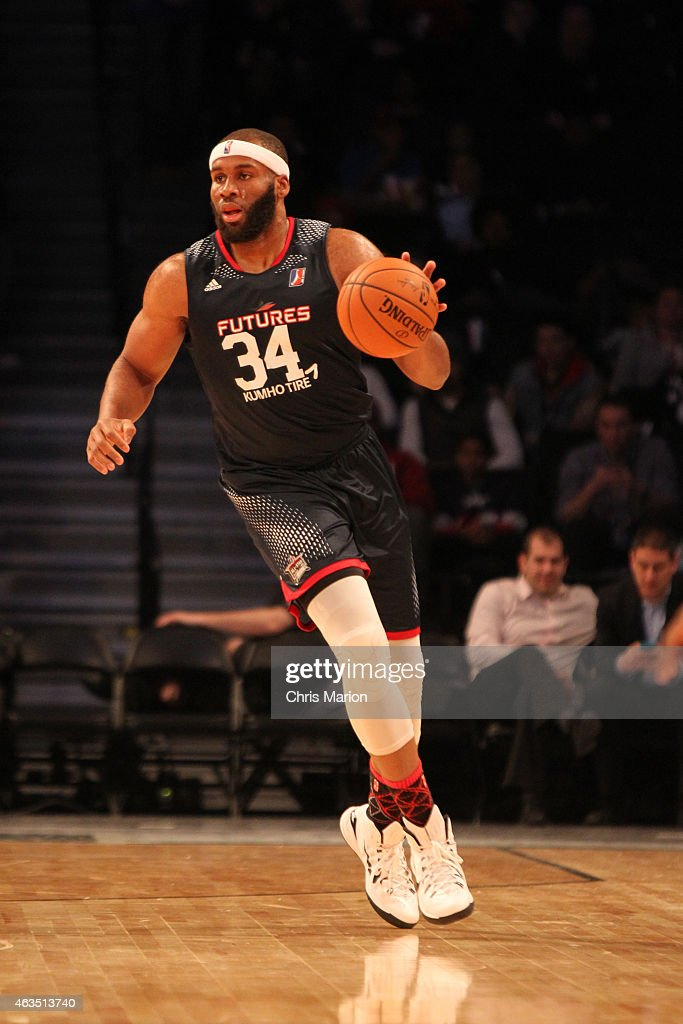 Arinze Onuaku of Team Futures dribbles the ball during the NBA DLeague AllStar Game 2015 as part of the 2015 NBA AllStar Weekend on February 15 2015...