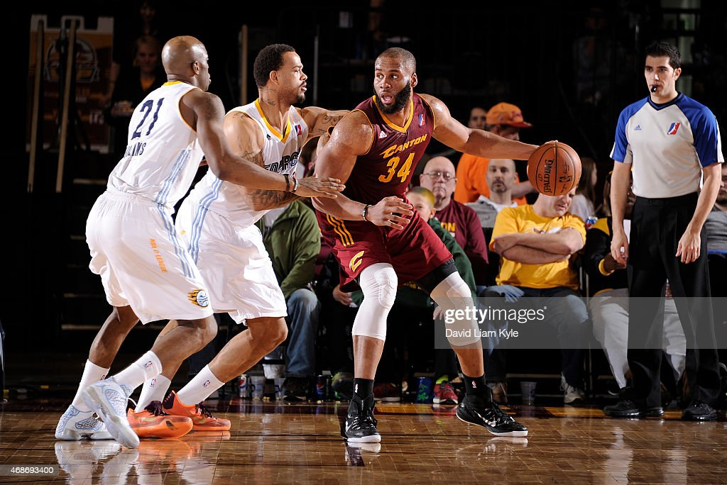 Arinze Onuaku of the Canton Charge backs in towards the basket against the Iowa Energy at the Canton Memorial Civic Center on April 3 2015 in Canton...