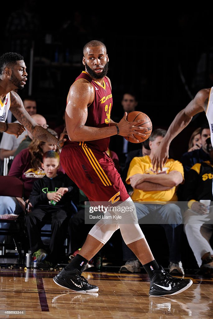 Arinze Onuaku of the Canton Charge controls the ball against the Iowa Energy at the Canton Memorial Civic Center on April 3 2015 in Canton Ohio NOTE...